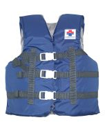 Front of the elifeguard.com® Youth Boating Vest in Blue with Gray Interior with Navy Straps with White Buckles